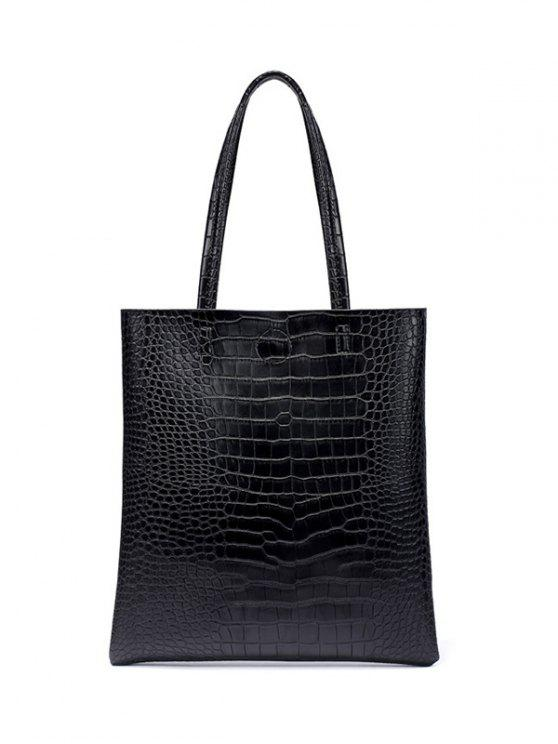 best Casual Crocodile Embossed Shoulder Bag - BLACK