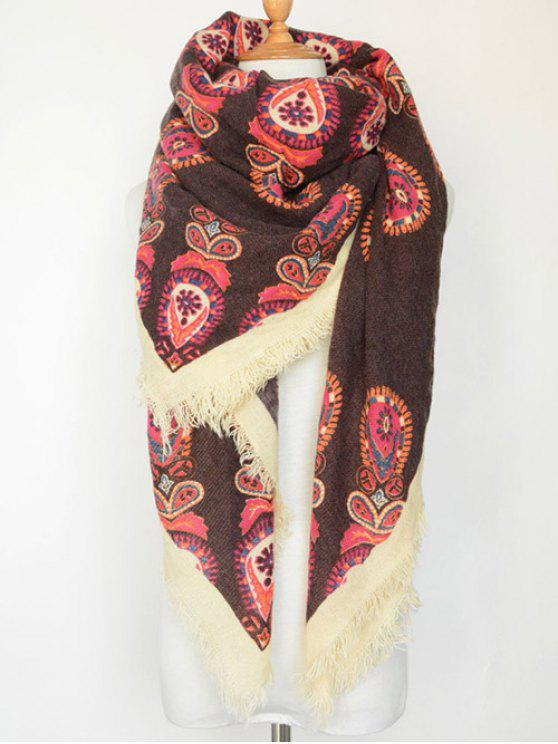 hot Floral Pattern Fringe Square Scarf - COFFEE