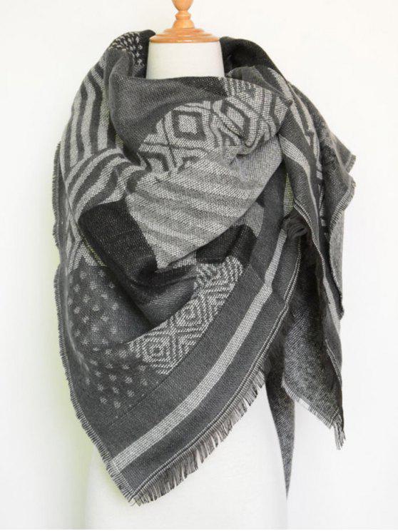 trendy Aztec Geometry Fringed Knit Scarf - GRAY
