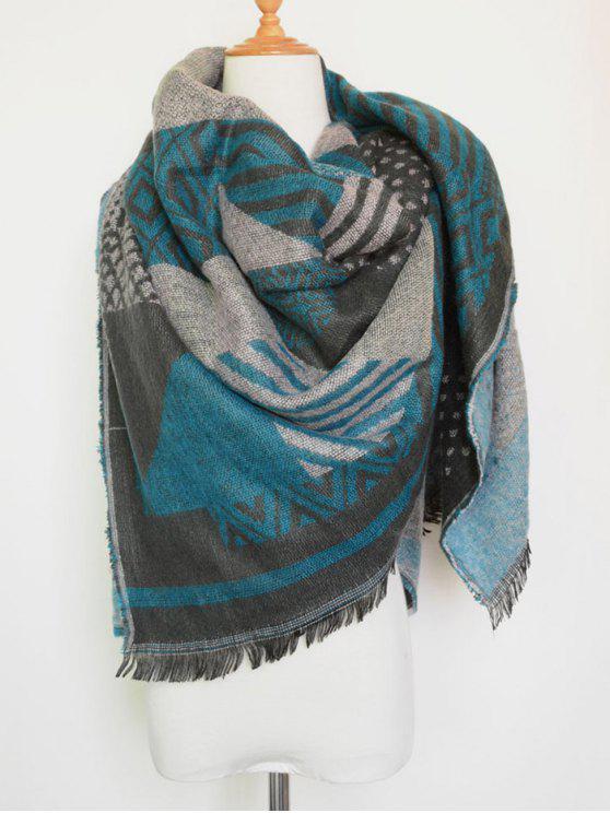 fashion Aztec Geometry Fringed Knit Scarf - LAKE BLUE