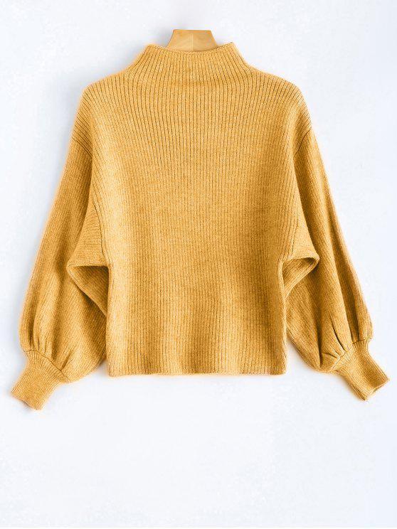 Soplo de la manga del suéter de cuello Mock - Amarillo Única Talla