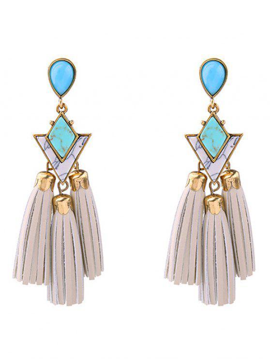 ladies PU Leather Turquoise Geometric Tassel Earrings - WHITE