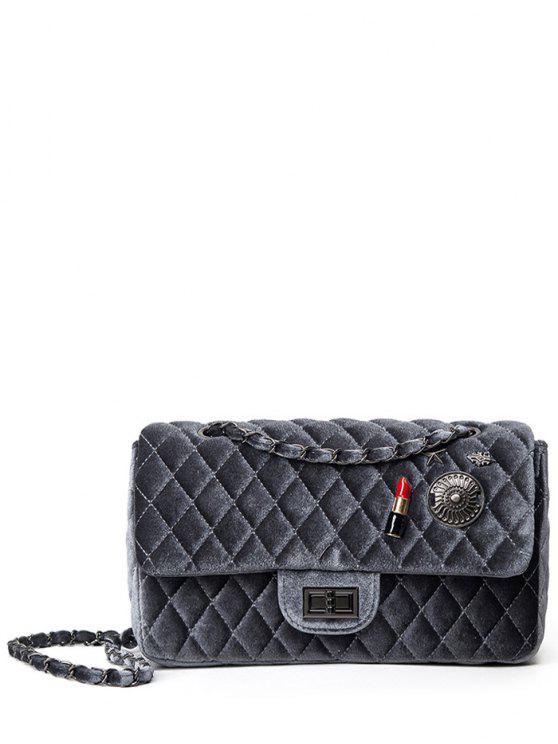 chic Argyle Pattern Metal Chain Shoulder Bag - DEEP GRAY