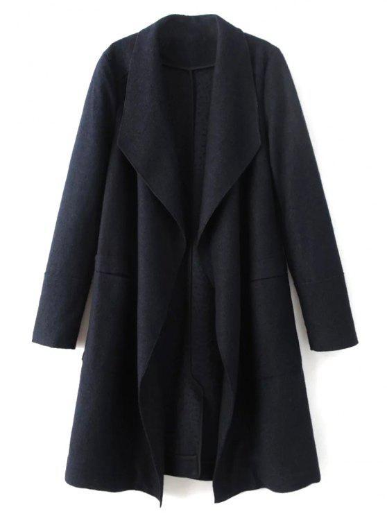 online Turndown Collar Woolen Blend Coat - CADETBLUE L