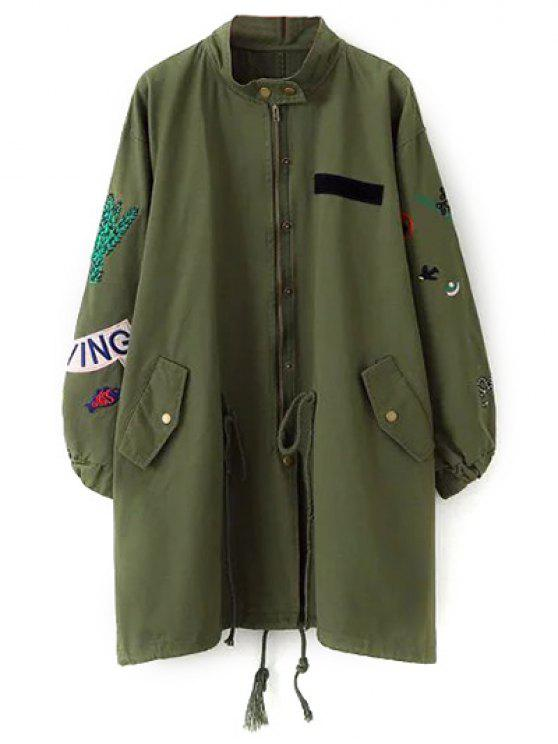 sale Patch Design Stand Neck Trench Coat - GREEN S
