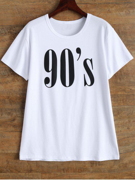 latest Jewel Neck 90's T-Shirt - WHITE S