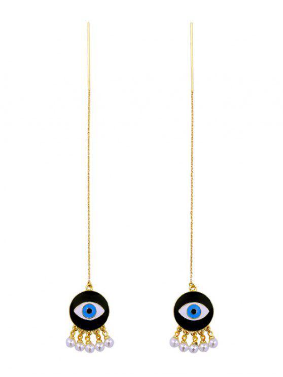 Pendientes de los ojos de la perla de Faux - Dorado