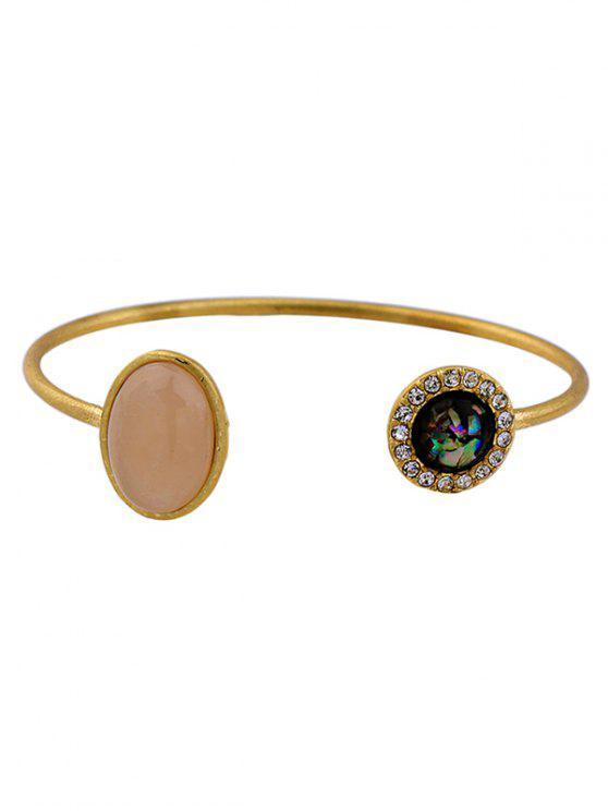 chic Artificial Gemstone Rhinestone Cuff Bracelet - GOLDEN