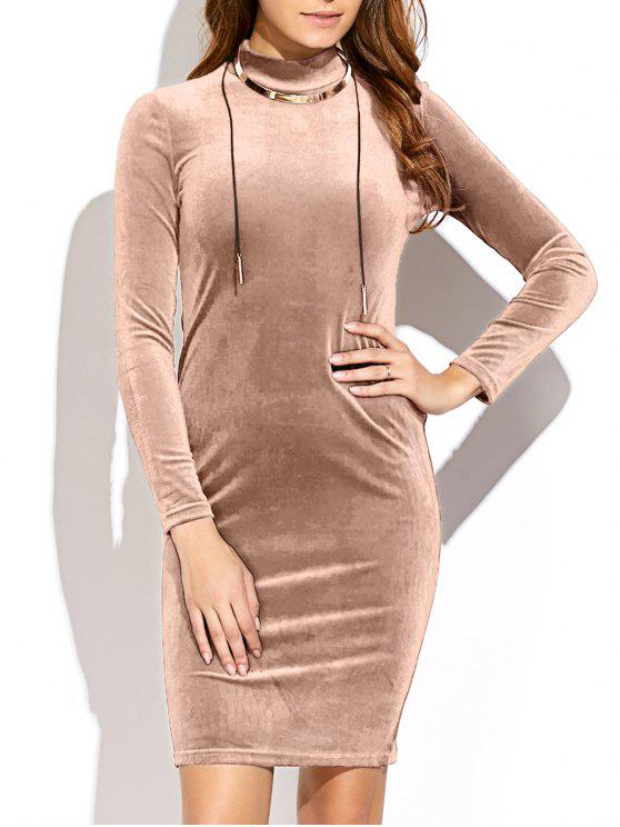 latest Mock Neck Velvet Mini Bodycon Dress - YELLOWISH PINK ONE SIZE