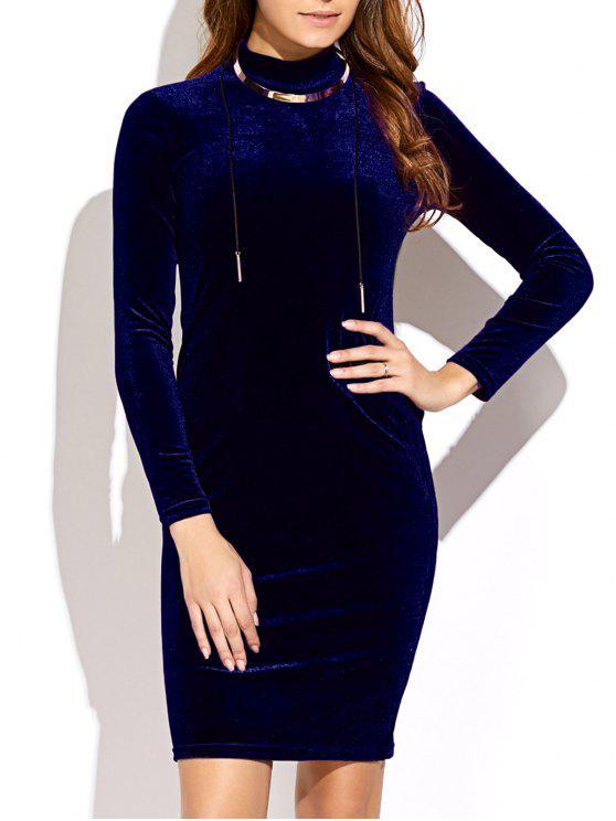 Vestido de Veludo mangas compridas e gola média - Azul Arroxeado Tamanho único