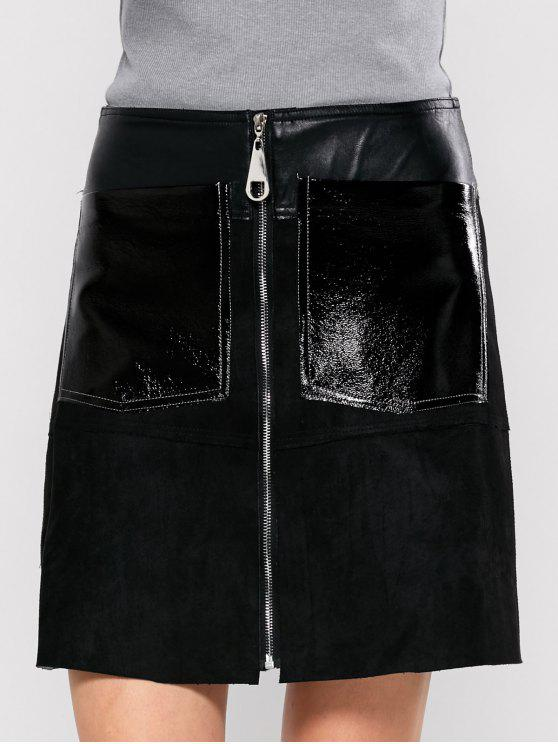 women PU Leather Panel A Line Skirt - BLACK S