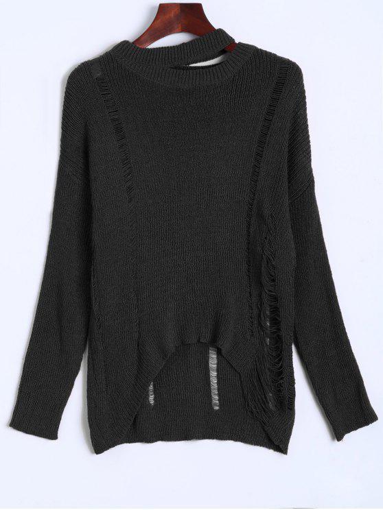 Übergröße Zerstörter Pullover - Schwarz Eine Größe
