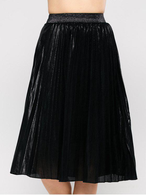 lady Pleated Tea Length Skirt - BLACK M