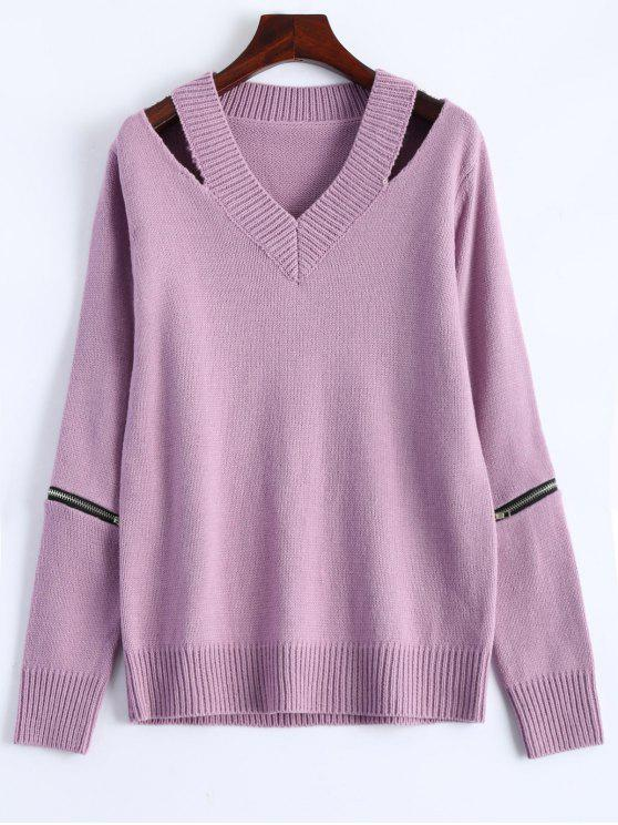 affordable Pullover Zipper V Neck Sweater - PINK M