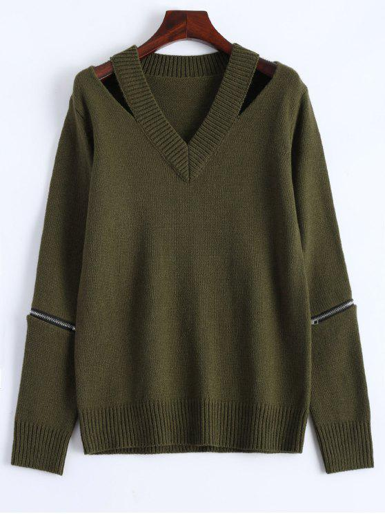 women's Pullover Zipper V Neck Sweater - ARMY GREEN M