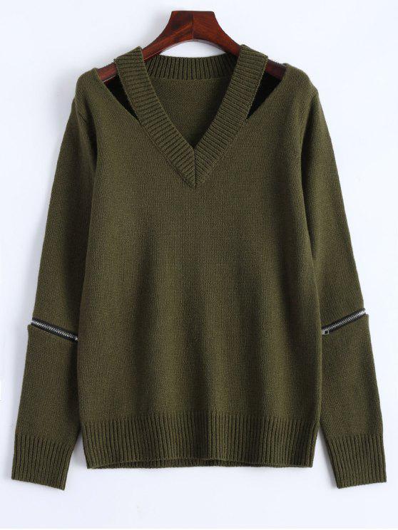 Suéter con cuello en V con cremallera - Verde del ejército M