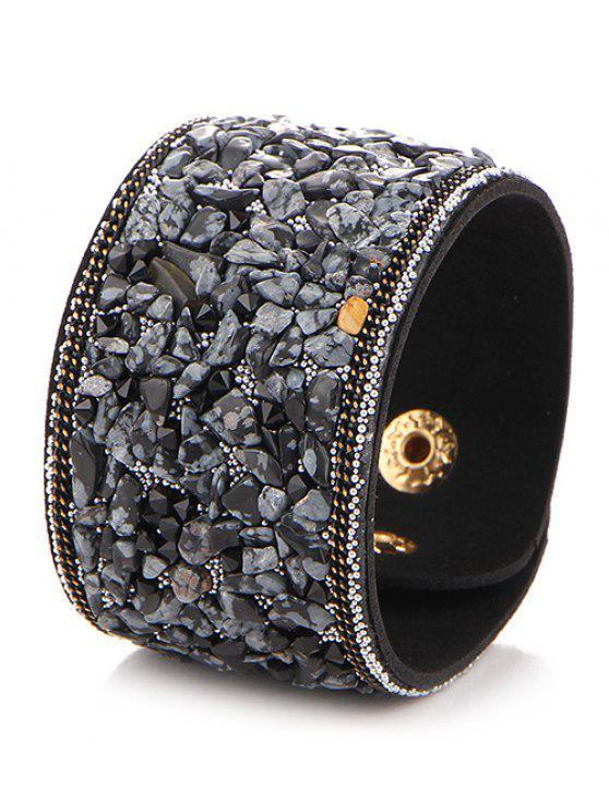 Pulsera de cuero de imitación de piedra natural - Negro