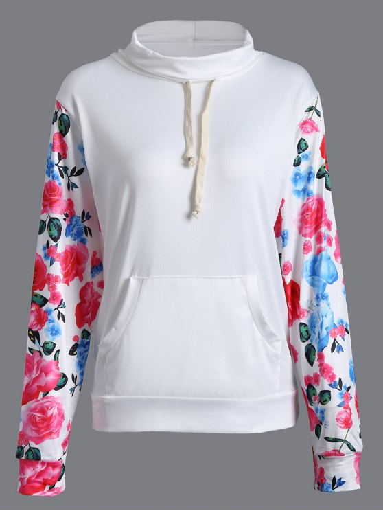 outfit String Floral Sweatshirt - WHITE S