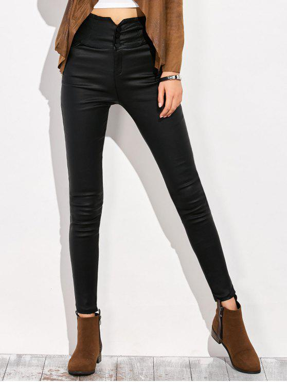 trendy Skinny Criss Cross Pencil Pants - BLACK M
