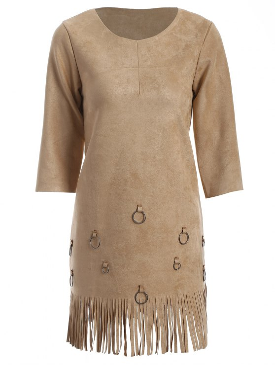 sale Tassels A-Line Dress - CAMEL M