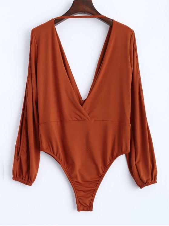 Split Cold Shoulder Bodysuit - Orangepink