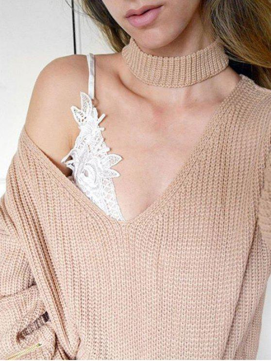 shop V Neck Ribbed Choker Sweater - KHAKI ONE SIZE