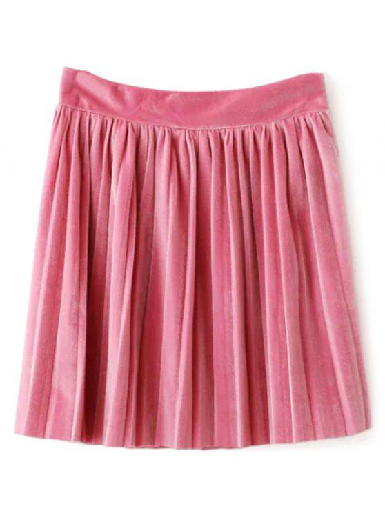 trendy Velour Pleated Skirt - LIGHT PINK L