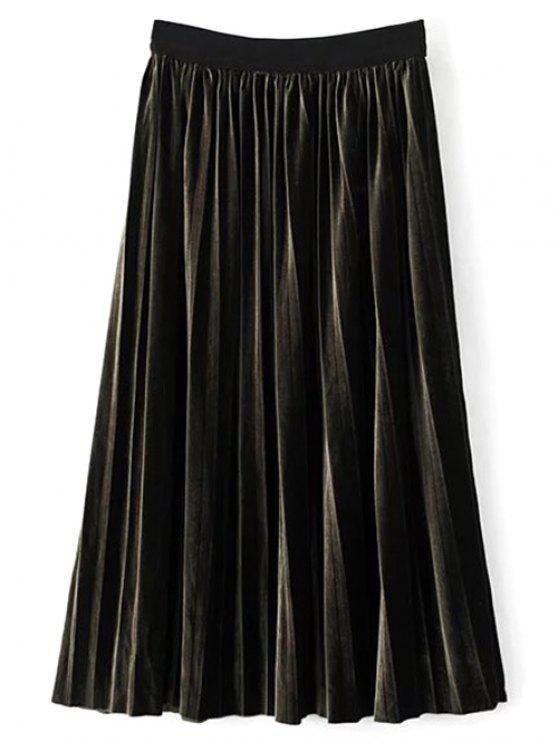 Jupe en velours plissée mi-longue à hauteur de taille - Vert Foncé TAILLE MOYENNE