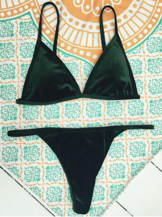 e146668fbe0 39% OFF  2019 Velvet Reversible Bikini Set In BLACKISH GREEN