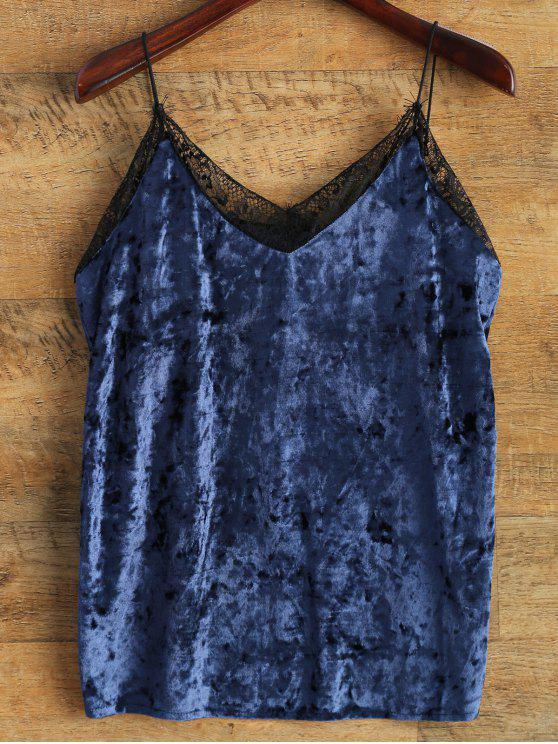 women Cami Lace Spliced Tank Top - BLUE ONE SIZE