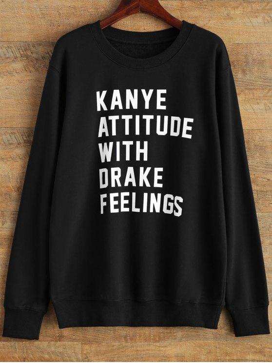 fancy Graphic Crew Neck Streetwear Sweatshirt - BLACK S