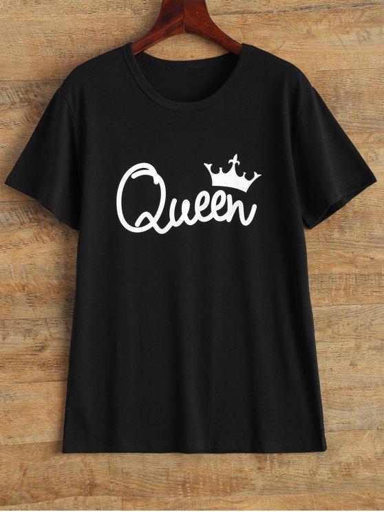 Streetwear cuello de la joya de la reina camiseta de la corona - Negro L