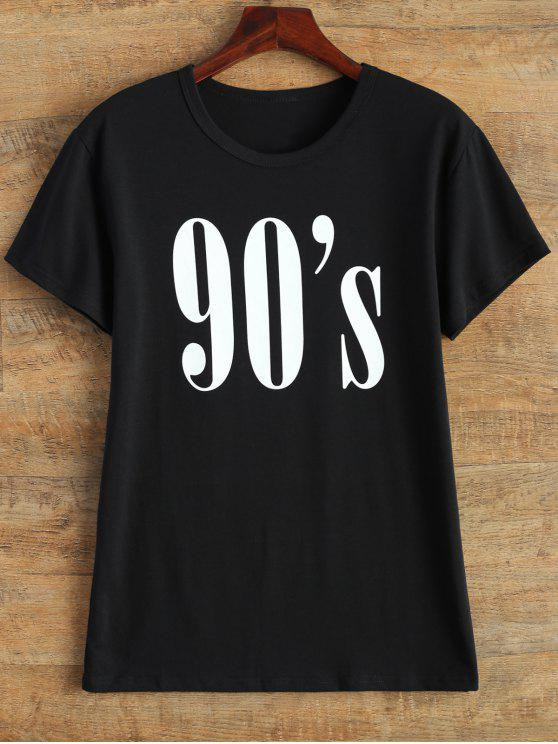 T-shirt ras-du-cou mode street 90's - Noir S