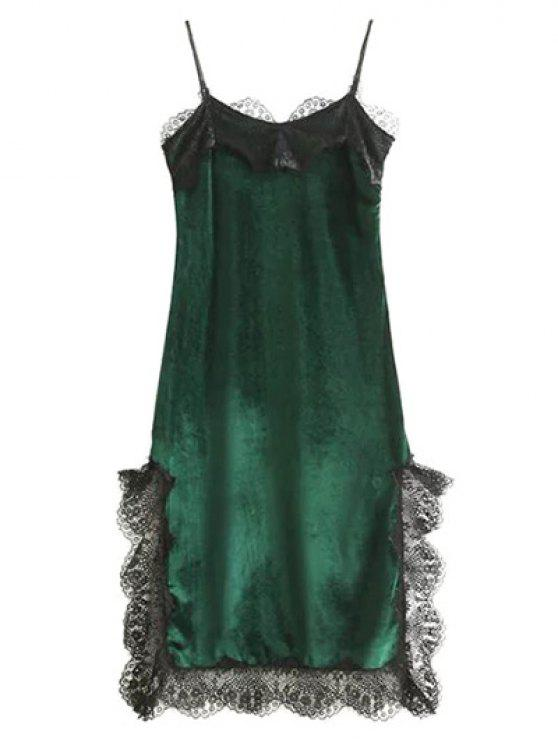 women Lace Panel Scalloped A-Line Dress - GREEN M