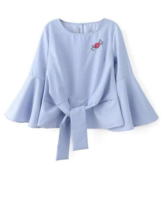 Bordado de la llamarada de la blusa de la manga - Azul M