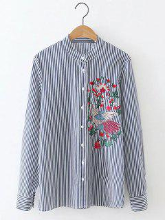 Long Sleeve Formal Striped Embroidered Shirt - Blue And White S