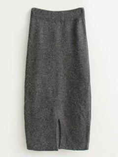 High Waist Midi Sweater Pencil Skirt - Gray