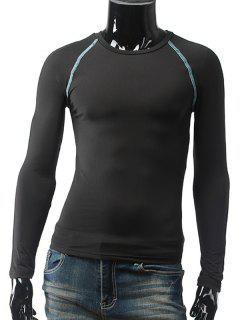 Slim Fit Raglan Sleeve Crew Neck Cycling Jerseys - Black Xl