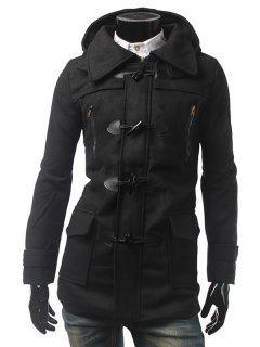 Multi Pocket Button Tab Cuff Hooded Toggle Coat - Black L