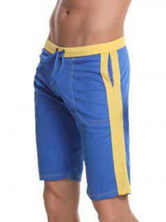 Pocket Drawstring Side Panel Bermuda Shorts - Blue L