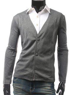 Slim Fit V Neck Button Cardigan - Gray M