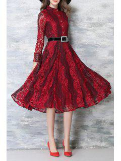 Long Sleeve Lace Midi Dress With Belt - Burgundy S