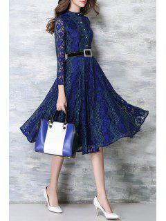 Long Sleeve Lace Midi Dress With Belt - Blue Xl