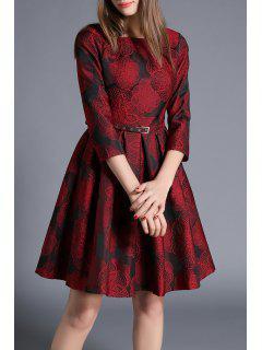 Flower Jacquard A Line Dress With Belt - Deep Red S