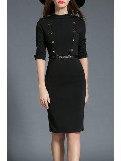 Stand Up Collar Double Breasted Bodycon Dress - Black S
