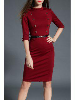 Stand Up Collar Double Breasted Bodycon Dress - Burgundy S