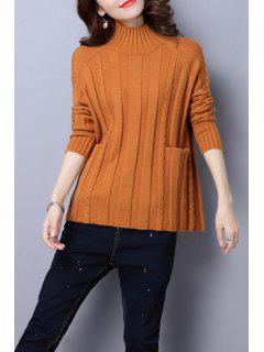 Cable Knit Mock Neck Sweater - Camel