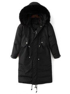 Drawstring Zip-Up Puffer Coat - Black M