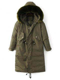 Drawstring Zip-Up Puffer Coat - Green M