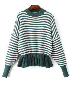 Striped Volants Mock Neck Sweater - Vert